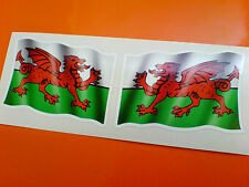 WELSH Wavey Flag Motorcycle Helmet Van Car Bumper Stickers Decals 2 off 60mm