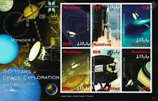 VOYAGER 2 Probe / 50 Years of Space Exploration Stamp Sheet / 2008 Maldives