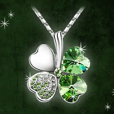 Women Lady Fashion Crystal Rhinestone Pendant Chain Necklace Lucky Clover Gifts