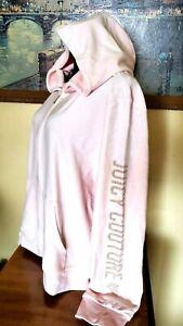 Juicy Couture Primrose Pink Soft Velour Arm Crest Hoodie Jacket -  XXL