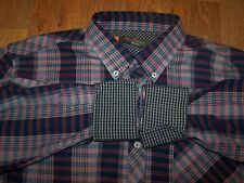 Ben Sherman Heritage Long Sleeve Button Up Multicolor Plaid Shirt Mens Size XL