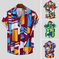 Mens Ethnic Printed Turn Down Collar Short Sleeve Loose Casual T-Shirts Blouses