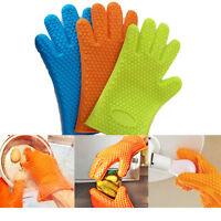 SILICONE Gloves Heat Resistant Cooking Mitt Hot Pot Oven BBQ Kitchen Hand Safety