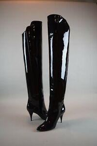 NIB $1695 YSL Saint Laurent KiKi 85 Patent Leather Black Boots Thigh High 39.5