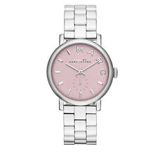 NEW MARC JACOBS BAKER POLISHED SILVER TONE S/STEEL,MAUVE,PINK DIAL WATCH MBM3280
