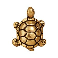 TierraCast Turtle Bead, Antiqued Gold Plated Lead-Free Pewter (T162)
