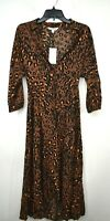 Whistles Womens Amara Leopard Print MIDI Shirt Dress Spread Front Button Hem 2