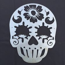 Sugar Skull With Flower Metal Wall Art Sign
