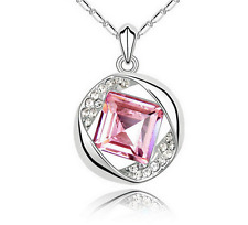 Fashion Womens Pink Diamond Crystal Rhinestone Silver Chain Pendant Necklace ---