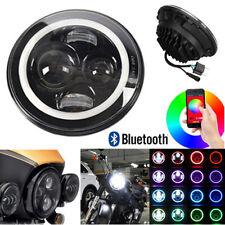 "7"" RGB Angel Eye Halo LED Motorcycle Headlight Front Lamp Bluetooth App Custom"