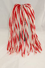 Red and White twirl Dreadlocks - 16 Handmade felted merino wool dreads