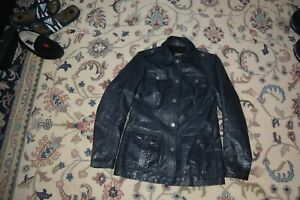 Authentic Versace Jeans Couture Military style Navy leather jacket women Sz S