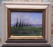 Royal Navy Fleet Southampton C : Original Impressionist Oil Painting Carlos Geri