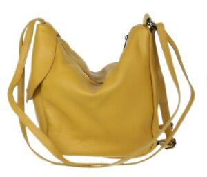 Ladies 2in1 Shoulder Bag Backpack Genuine Convertible Bag Leather Italian Casual