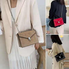 Womens Quilted Chain Bag Frosted Shoulder  handbag Messenger Chain UK