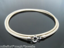 """2mm Pearl White Leather & Sterling Silver Necklace Or Wristband 16"""" 18"""" 20"""" 22"""""""