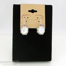 STERLING SILVER 925 MOTHER OF PEARL OVAL EARRINGS SMALL STONES ON SIDES NEW