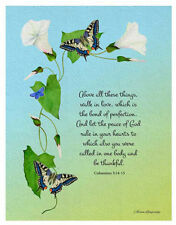 A6 Bible Verse Colossians 3: 14-15 Signed Limited Edition Watercolor Artwork