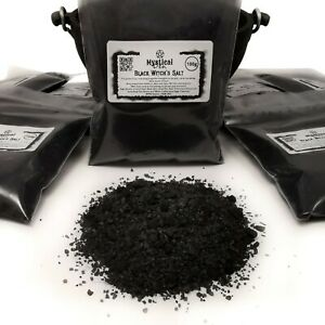 Witch's Black Salt Banishing Protection Spells Hex Pagan Wicca with Crystal Salt