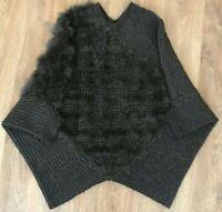 PINKO TAG rare womens kasos poncho rete lapin wool alpaca sweater size M