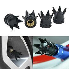 4× Black kings Crown Tyre Tire Wheel Stem Valve Air Dust Cap Gift.