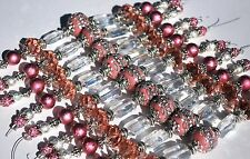 New Pink and Silver 7 Inch Lilah Ann Strand Boho, Metal, Crystal, Glass LA102074
