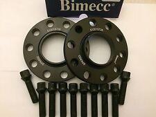 15mm BIMECC Negro hub espaciadores centrados en + 10 x Tornillos 40mm se ajusta Audi M14X1.5 572