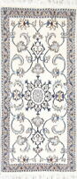 "NEW WHITE 5 ft Runner Nain Oriental Hand-Knotted WOOL Rug 4' 7"" x 2' 2"""