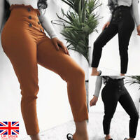 Summer Womens High Waist Paperbag Trousers Ladies Fit Long Sex Pencil Pants UK