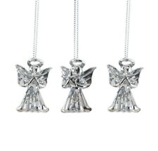 Set of 3 Glass Silver Star Angel Christmas Decorations Tree Ornament in Box