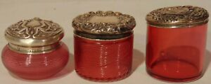 3 Art Nouveau Cranberry Swirl Glass Salve Dresser Boxes Sterling Silver Salt