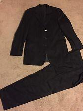 Hugo Boss Men's Suit 100% Virgin Wool Da Vinci/Lucia Discrete Grey Stripe Fabric