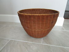 "Vintage Large Woven Reed Basket - 10"" tall"
