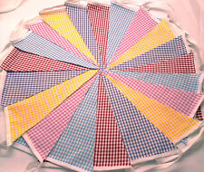 60 ft/18m. Gingham BUNTING .WEDDINGS vintage shabby chic mixed 3 x 20 ging