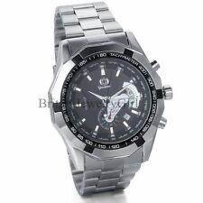 Luxury Mens Sport Skeleton Automatic Mechanical Stainless Steel Date Wrist Watch