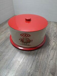 Vintage Retro Metal Tin Cake Carrier Decoware red flower cart umbrella
