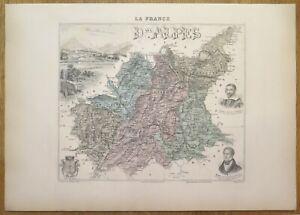 Gravure originale de 1895 - Carte du département des Basses Alpes