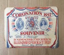 RARE Coronation 1937 Bournemouth Corporation Illuminated Trolley Bus Ticket SALE