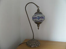 Turkish Lamp Swan Hand Made Moroccan Table Mosaic Colourful Glass Blue Diamond