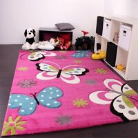 Girls Pink Bedroom Rug Butterfly Baby Girl Playroom Carpet Mat Small Extra Large