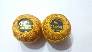 2 x Anchor Pearl Cotton Crochet Solid & Variegated Embroidery thread Balls Gold