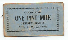 1910 Paper Trade Token for One Pint Milk Mrs F.W. Zastrow's Dairy Chehalis WA
