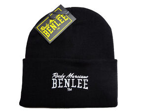 Benlee Rocky Marciano Black Pull Down Beanie Hat Cap Embroided Logo Boxing Mütze