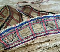 Antique Horse Hair Woven Plaid Ribbon Lace Millinery Doll Hat Patriotic 5yds Lot