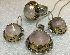 Schmuckset Anhänger Ring Ohrringe 925 Silber Rosenquarz teils vergoldet