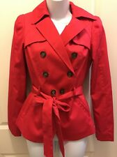 H&M Short Trench Coat Bright Pink Size 4 NWT