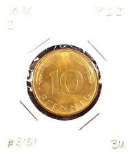 Set of 2 10 Pfennig 1972D+F German Brass Plated Steel Current Coins B. U.