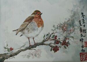 'December' wildlife bird Robin original watercolour painting by Vivian Sophie
