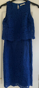 Ladies ~ Oasis Dress ~ Blue  ~ Size 12 ~ Lace Effect Lined Dress Party Cocktail