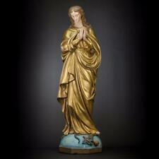 "32"" Antique Immaculate Conception of Virgin Mary Plaster Church Statue Wood Base"